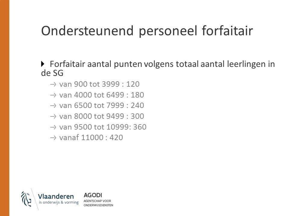 Ondersteunend personeel forfaitair Forfaitair aantal punten volgens totaal aantal leerlingen in de SG van 900 tot 3999 : 120 van 4000 tot 6499 : 180 van 6500 tot 7999 : 240 van 8000 tot 9499 : 300 van 9500 tot 10999: 360 vanaf 11000 : 420