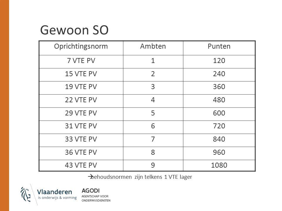 Gewoon SO OprichtingsnormAmbtenPunten 7 VTE PV1120 15 VTE PV2240 19 VTE PV3360 22 VTE PV4480 29 VTE PV5600 31 VTE PV6720 33 VTE PV7840 36 VTE PV8960 43 VTE PV91080  behoudsnormen zijn telkens 1 VTE lager
