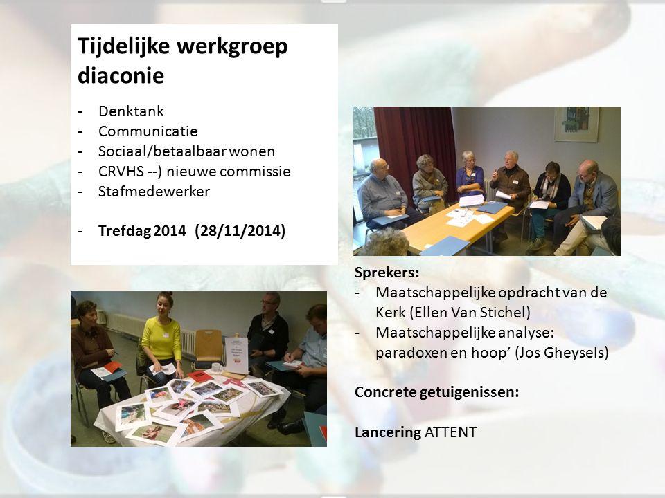 Tijdelijke werkgroep diaconie -Denktank -Communicatie -Sociaal/betaalbaar wonen -CRVHS --) nieuwe commissie -Stafmedewerker -Trefdag 2014 (28/11/2014)