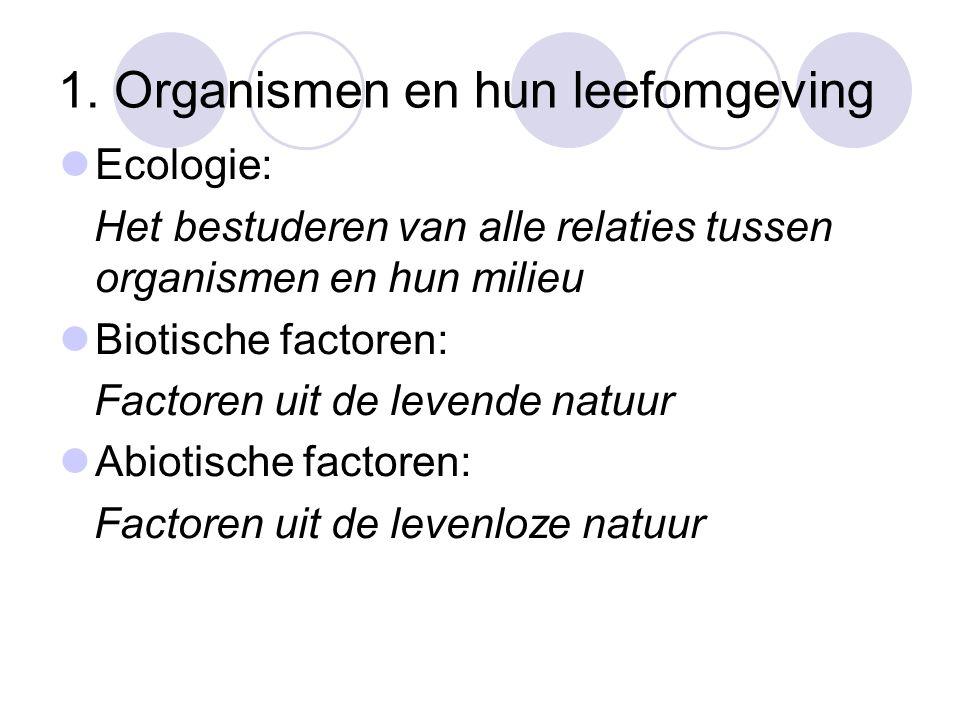 1. Organismen en hun leefomgeving Ecologie: Het bestuderen van alle relaties tussen organismen en hun milieu Biotische factoren: Factoren uit de leven