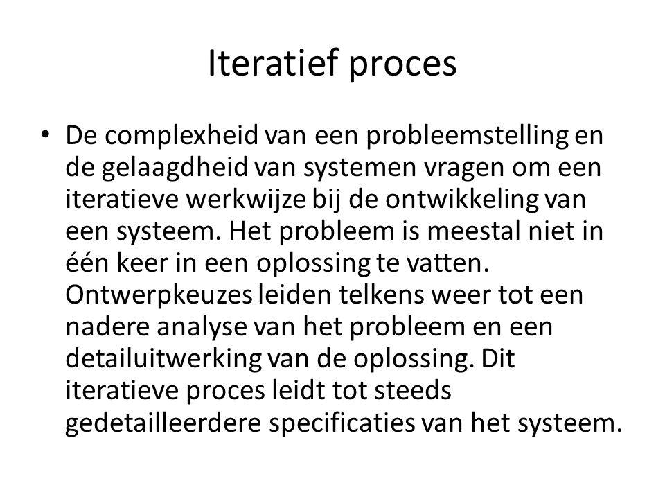 Iteratief proces De complexheid van een probleemstelling en de gelaagdheid van systemen vragen om een iteratieve werkwijze bij de ontwikkeling van een systeem.