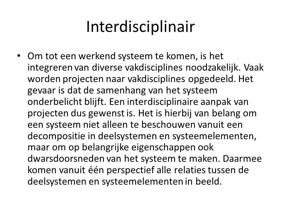 Interdisciplinair Om tot een werkend systeem te komen, is het integreren van diverse vakdisciplines noodzakelijk. Vaak worden projecten naar vakdiscip