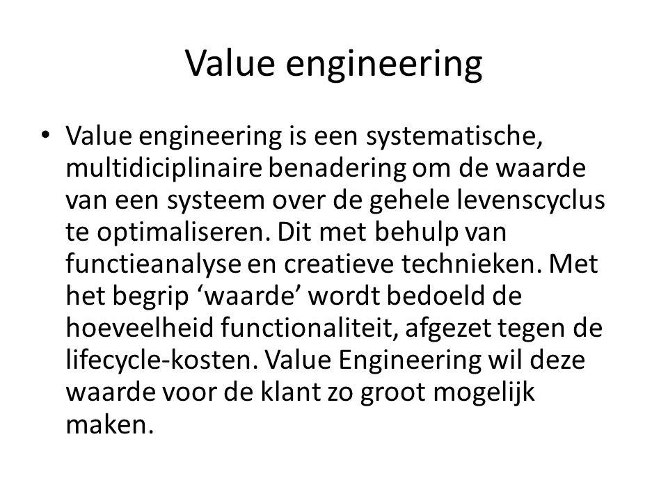Value engineering Value engineering is een systematische, multidiciplinaire benadering om de waarde van een systeem over de gehele levenscyclus te optimaliseren.
