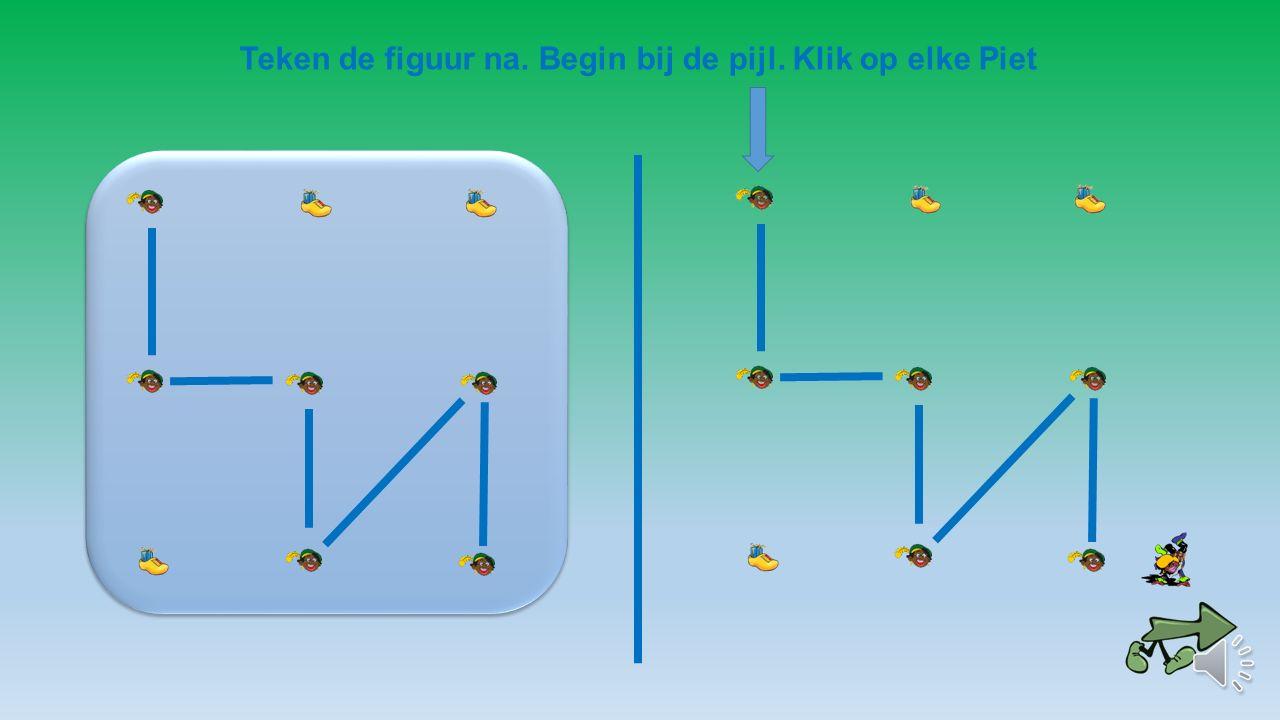 Teken de figuur na. Begin bij de pijl. Klik op elk pakje.