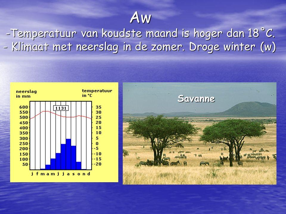 Aw -Temperatuur van koudste maand is hoger dan 18˚C. - Klimaat met neerslag in de zomer. Droge winter (w) Savanne