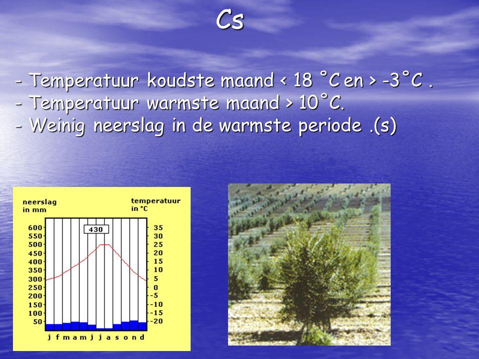 Cs - Temperatuur koudste maand < 18 ˚C en > -3˚C. - T- T- T- Temperatuur warmste maand > 10˚C. - W- W- W- Weinig neerslag in de warmste periode.(s)