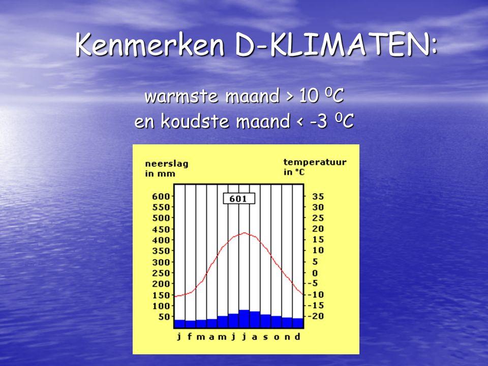 warmste maand > 10 0C en koudste maand < -3 0C Kenmerken D-KLIMATEN:
