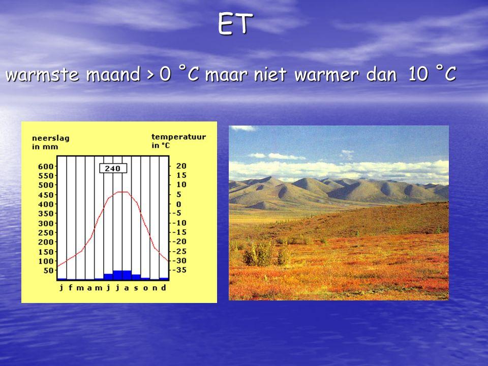 ET warmste maand > 0 ˚C maar niet warmer dan 10 ˚C