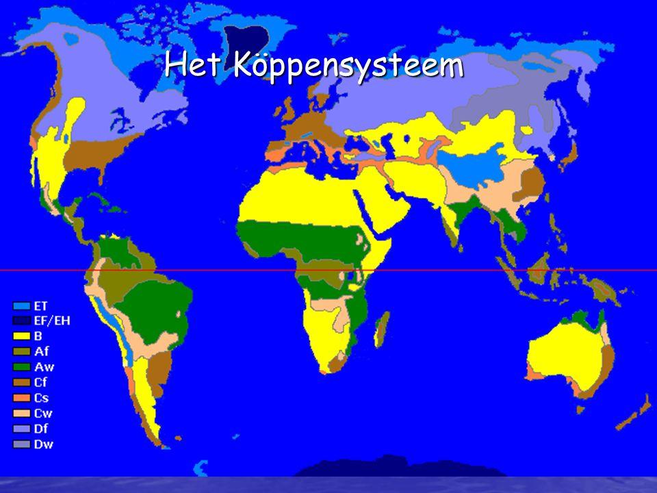 Köppen onderscheidt 5 klimaatzones. (A,B,C,D en E)