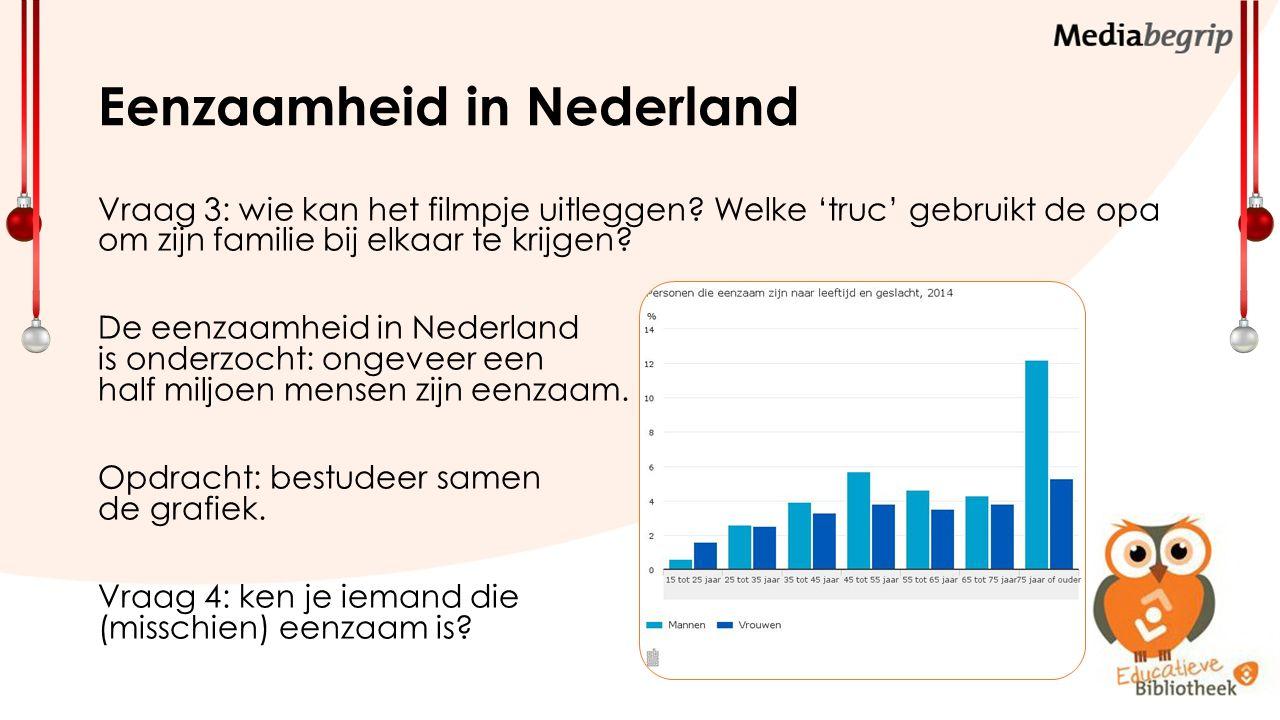 Eenzaamheid in Nederland Vraag 3: wie kan het filmpje uitleggen.