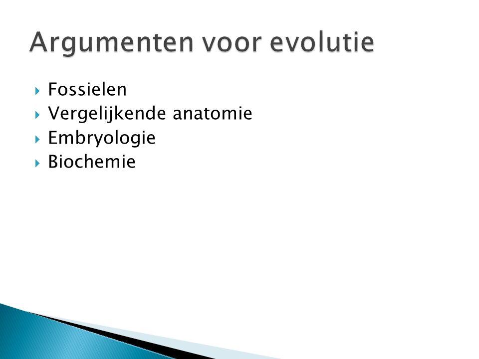  Uit de gevonden fossielen blijkt dat er in de loop van de evolutie soorten zijn ontstaan, veranderd en/of verdwenen.