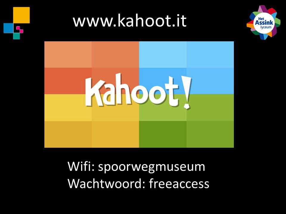 Wifi: spoorwegmuseum Wachtwoord: freeaccess www.kahoot.it