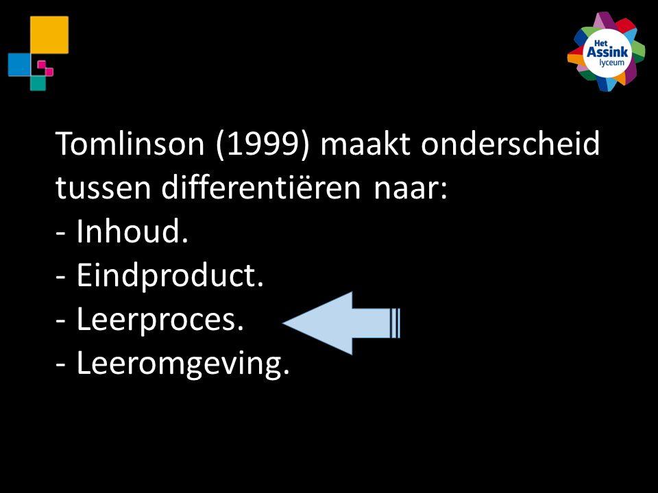 Tomlinson (1999) maakt onderscheid tussen differentiëren naar: -Inhoud. -Eindproduct. -Leerproces. -Leeromgeving.