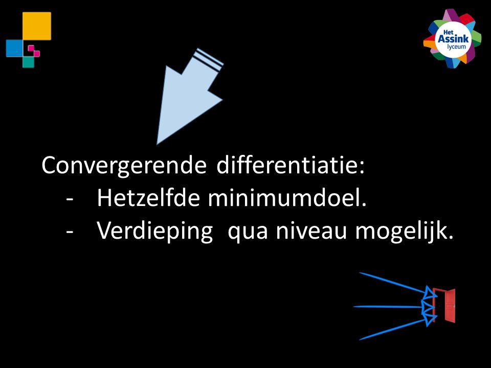 Convergerende differentiatie: -Hetzelfde minimumdoel. -Verdieping qua niveau mogelijk.