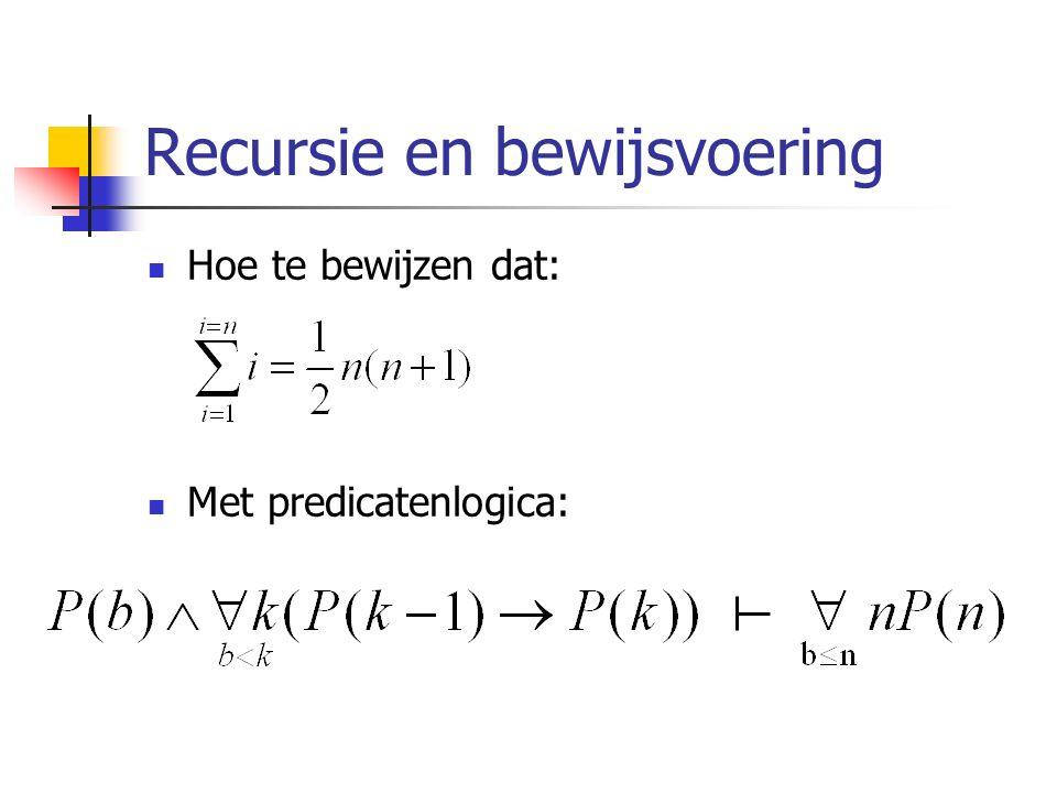 Recursie en bewijsvoering Hoe te bewijzen dat: Met predicatenlogica: