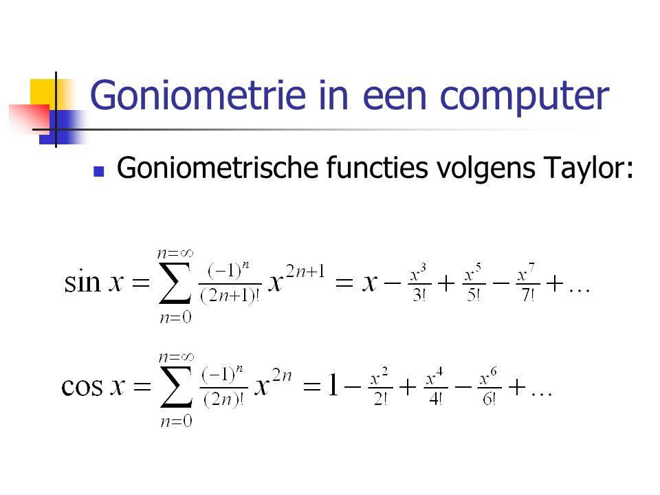 Goniometrie in een computer Goniometrische functies volgens Taylor: