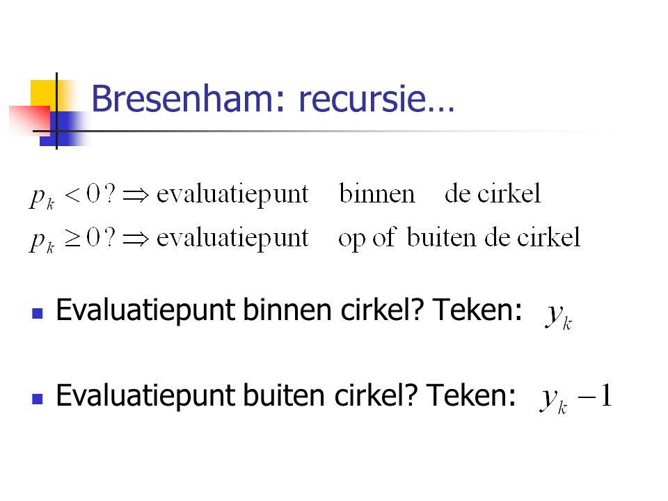 Bresenham: recursie… Evaluatiepunt binnen cirkel Teken: Evaluatiepunt buiten cirkel Teken: