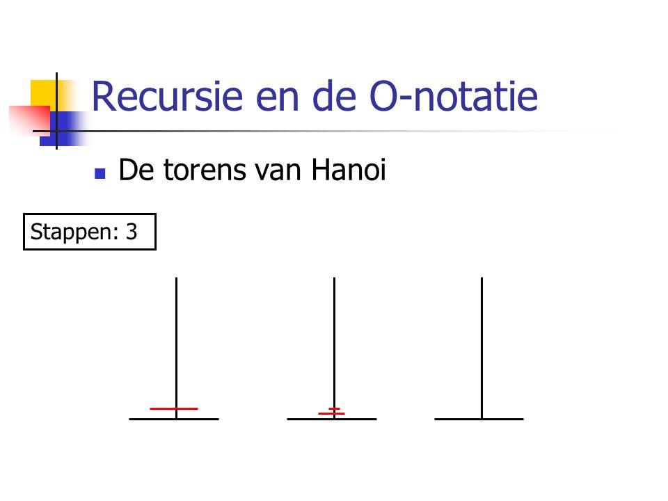 Recursie en de O-notatie De torens van Hanoi Stappen: 3