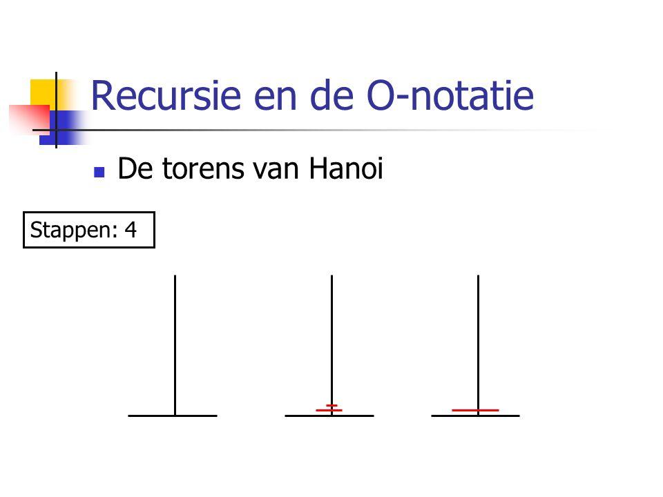 Recursie en de O-notatie De torens van Hanoi Stappen: 4