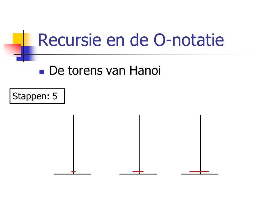Recursie en de O-notatie De torens van Hanoi Stappen: 5