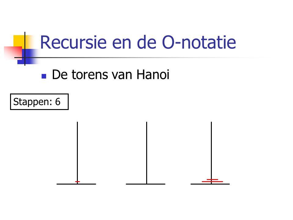 Recursie en de O-notatie De torens van Hanoi Stappen: 6