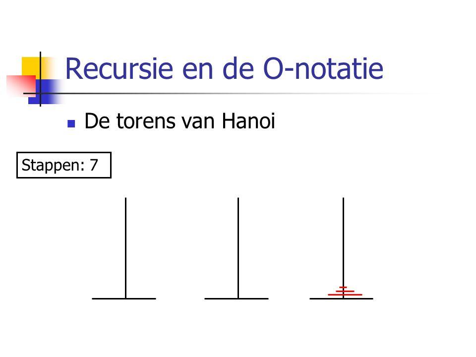 Recursie en de O-notatie De torens van Hanoi Stappen: 7