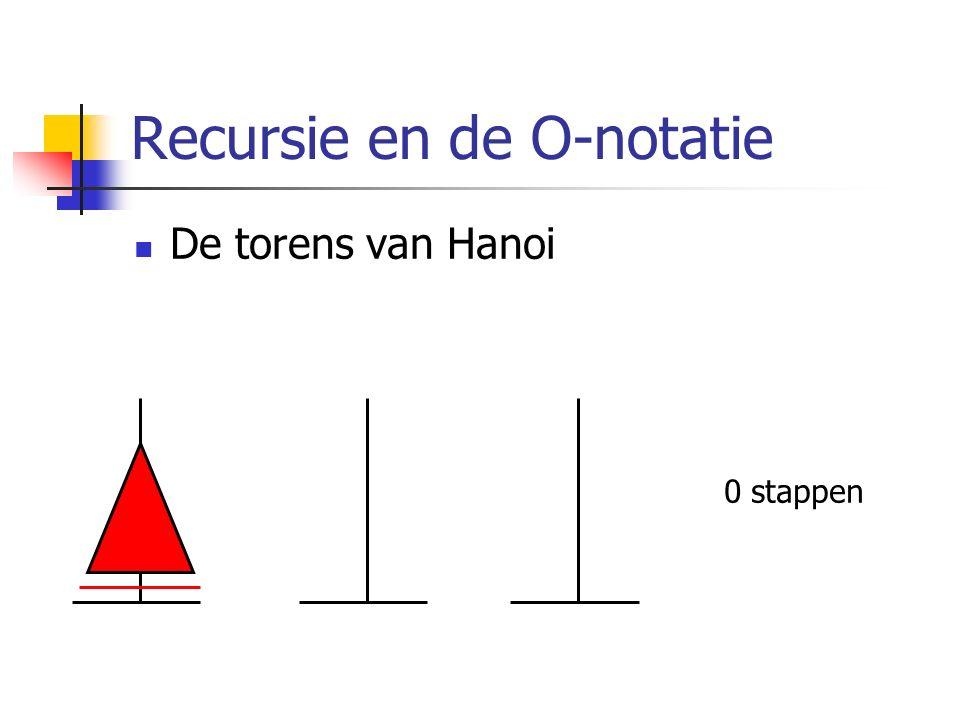 Recursie en de O-notatie De torens van Hanoi 0 stappen