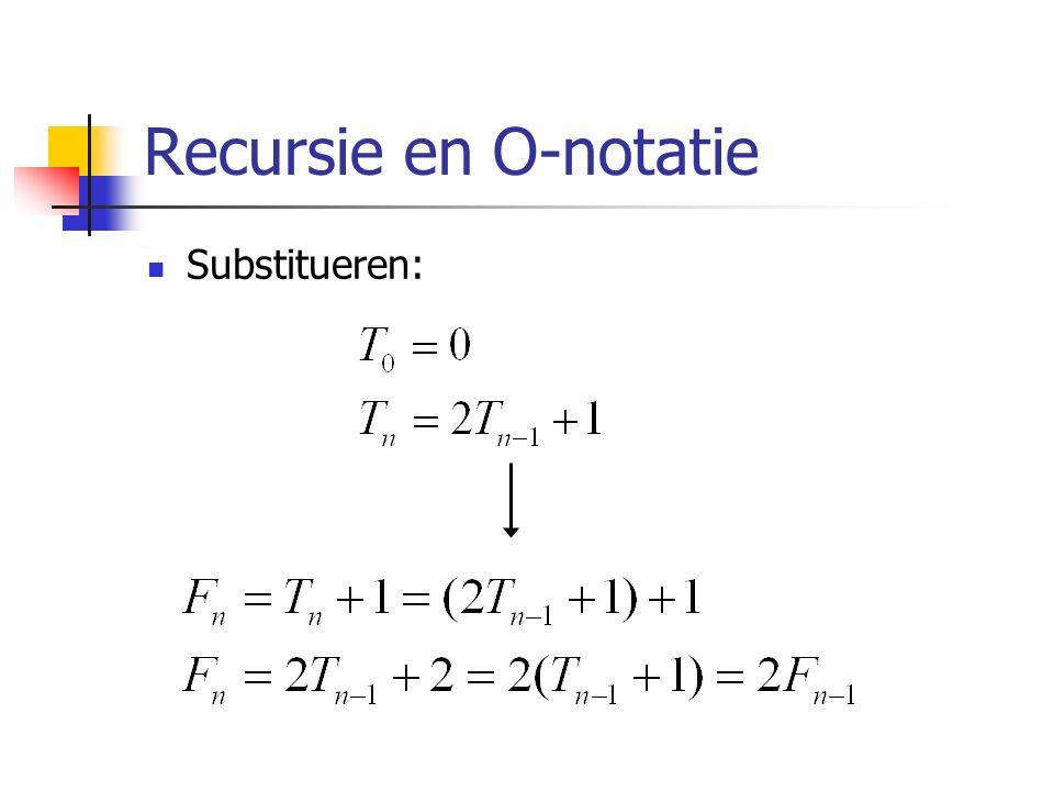 Recursie en O-notatie Substitueren: