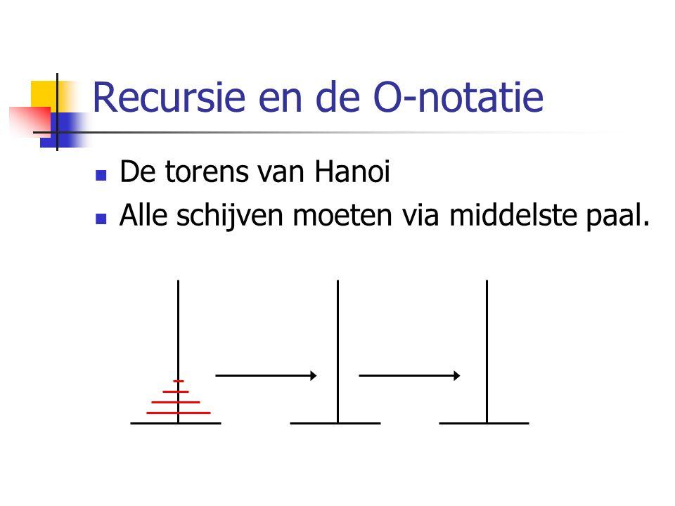 Recursie en de O-notatie De torens van Hanoi Alle schijven moeten via middelste paal.