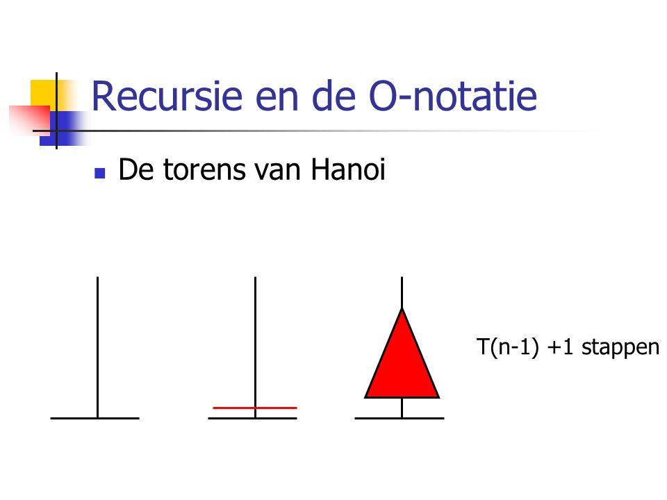 Recursie en de O-notatie De torens van Hanoi T(n-1) +1 stappen