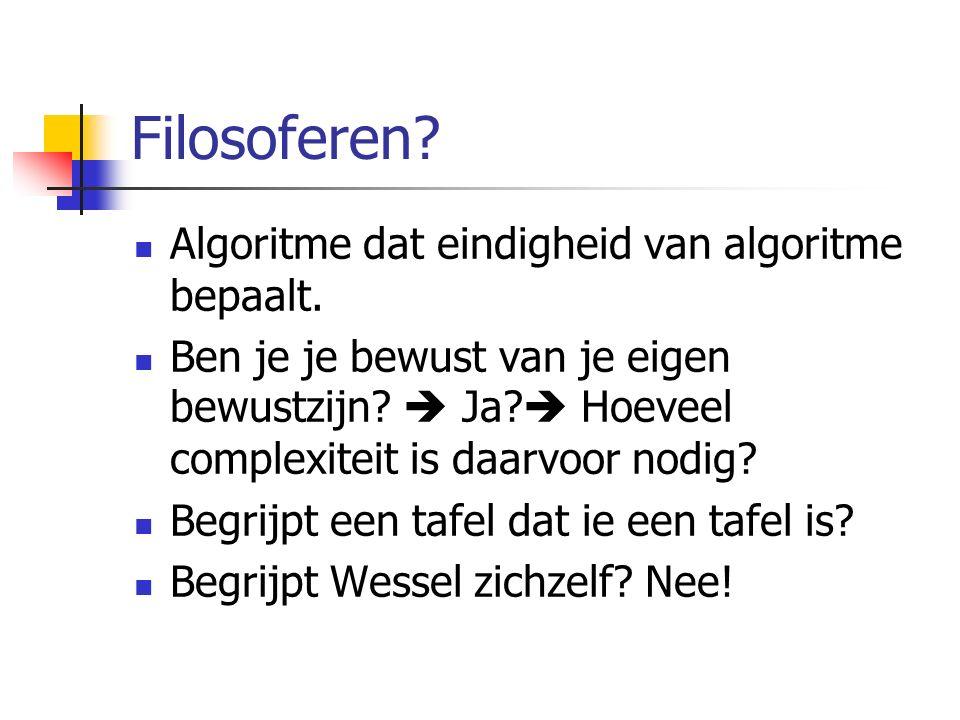 Filosoferen. Algoritme dat eindigheid van algoritme bepaalt.
