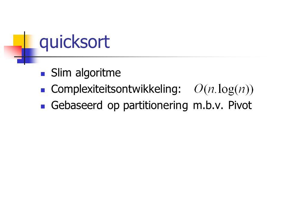 quicksort Slim algoritme Complexiteitsontwikkeling: Gebaseerd op partitionering m.b.v. Pivot