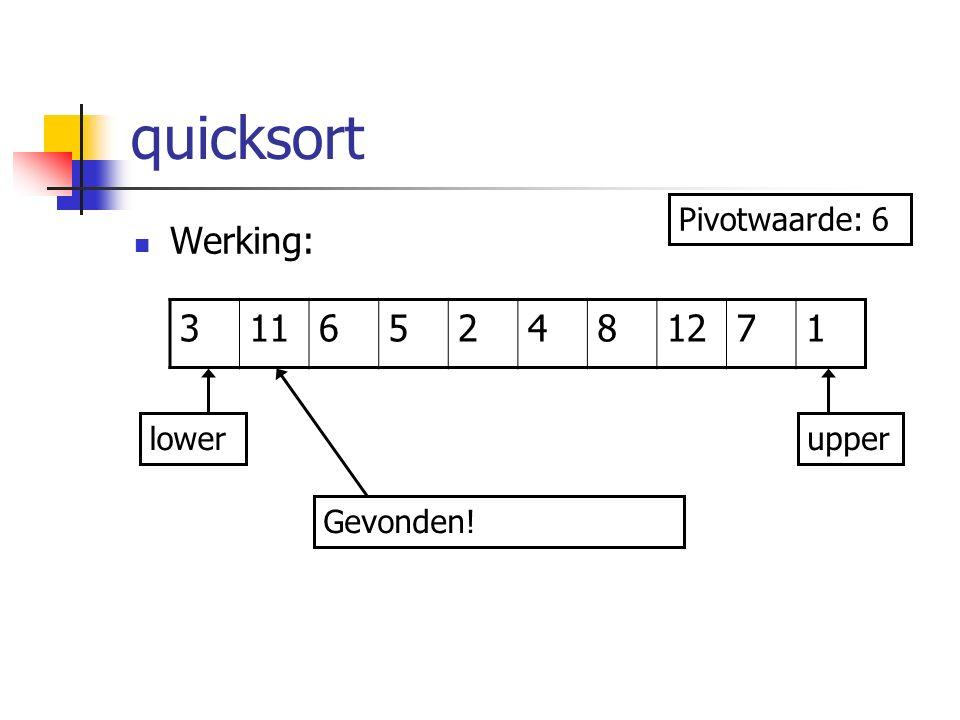 quicksort Werking: 311652481271 lowerupper Pivotwaarde: 6 Gevonden!