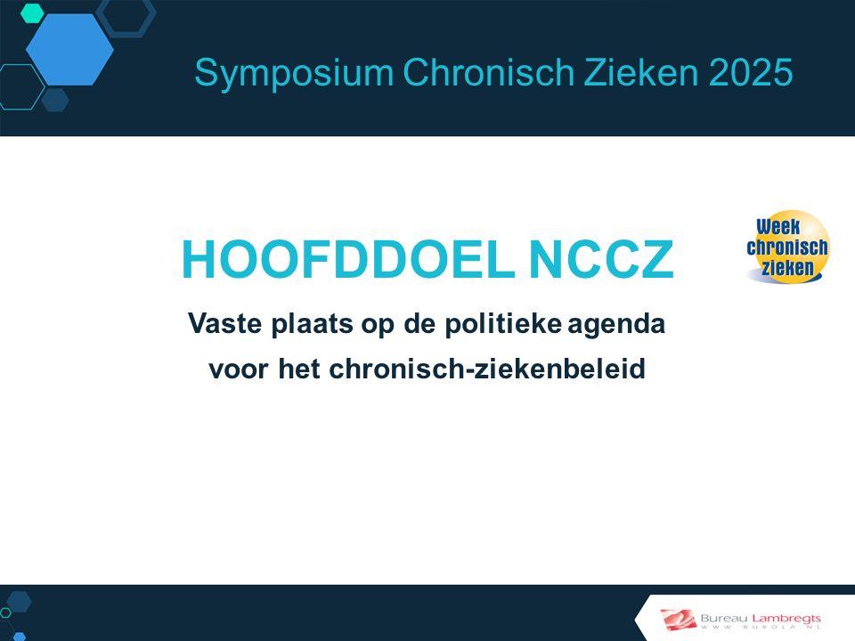 Symposium Chronisch Zieken 2025 SPEERPUNTEN NCCZ Preventie Betere behandelingen Meer kwaliteit van leven Beter maatschappelijk klimaat