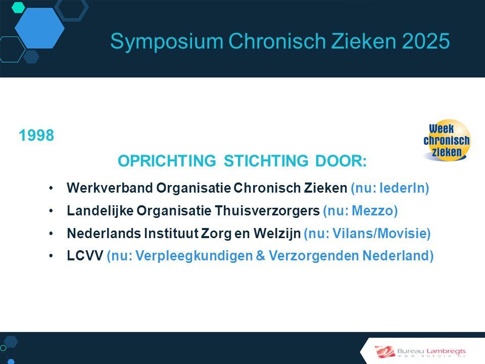 Symposium Chronisch Zieken 2025 BIJDRAGE Week Chronisch Zieken heeft 18 jaar bijgedragen aan: Agenda setting Verbinden van chronisch zieken, gehandicapten, mantelzorgers, professionals en beleid Inspireren van mensen met een beperking Verbetering beeldvorming