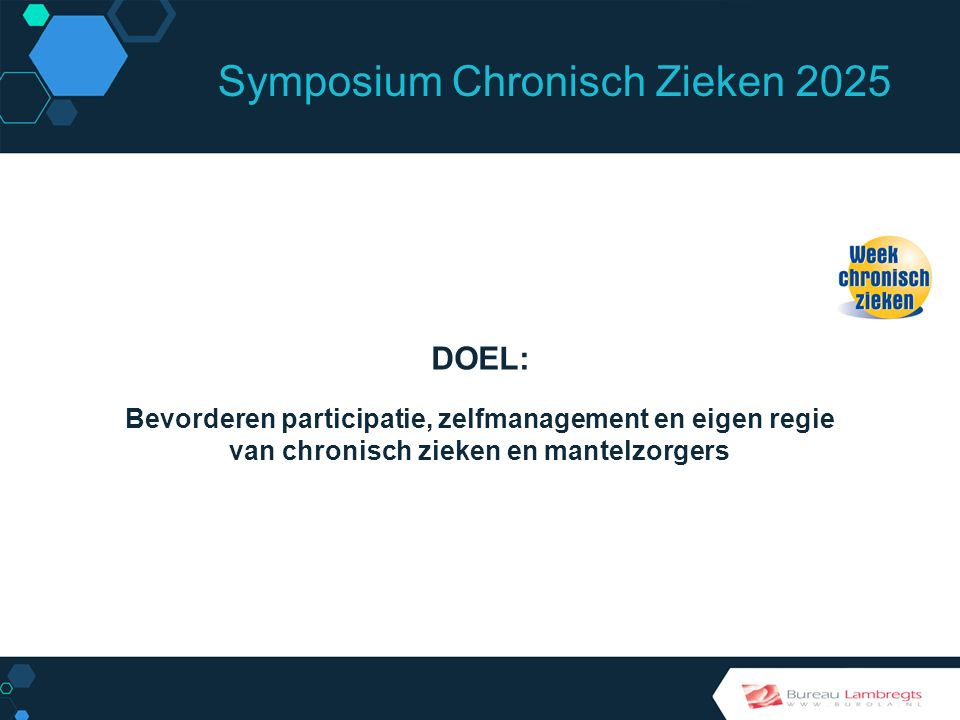 Symposium Chronisch Zieken 2025 HOE DOEL BEREIKEN.