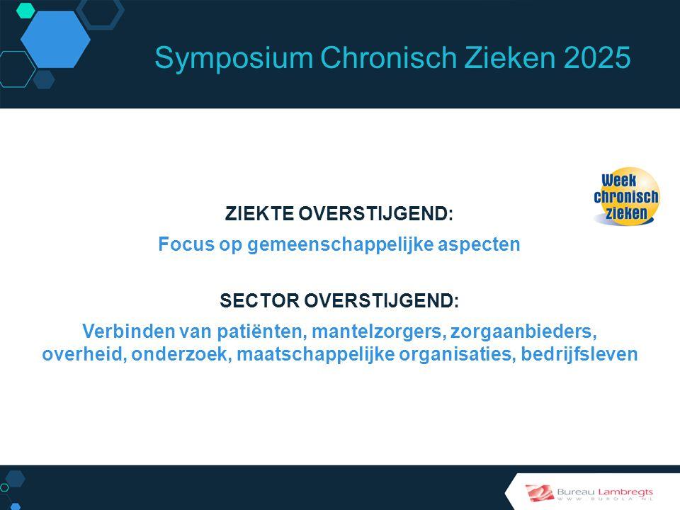 Symposium Chronisch Zieken 2025 WERKWIJZE Eén keer per jaar een Paukenslag Van 1997 tot 2014 jaarlijks in november Week Chronisch Zieken
