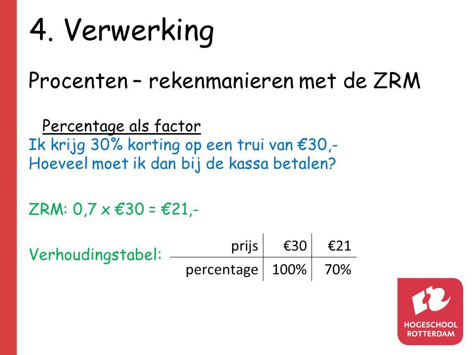 4. Verwerking Procenten – rekenmanieren met de ZRM Percentage als factor Ik krijg 30% korting op een trui van €30,- Hoeveel moet ik dan bij de kassa b