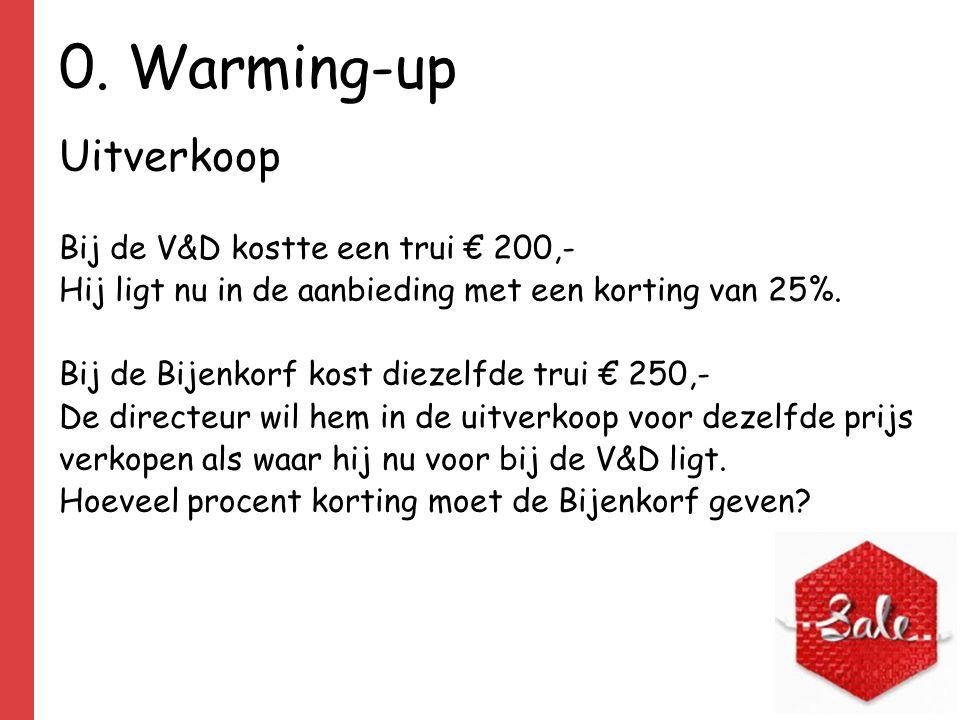 0. Warming-up Uitverkoop Bij de V&D kostte een trui € 200,- Hij ligt nu in de aanbieding met een korting van 25%. Bij de Bijenkorf kost diezelfde trui