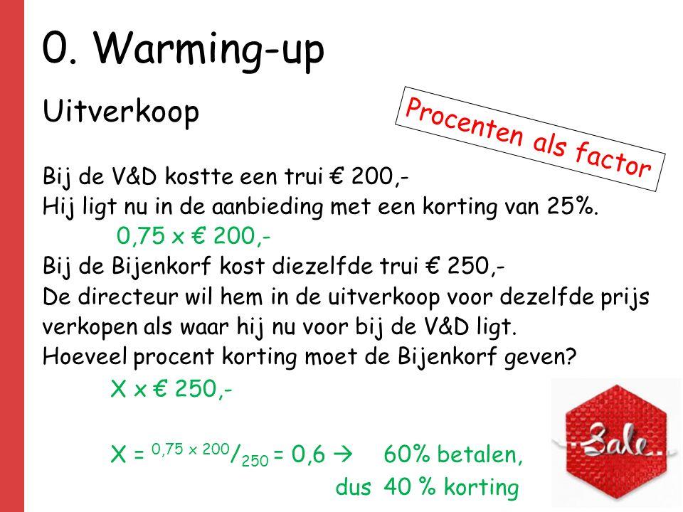 0. Warming-up Uitverkoop Bij de V&D kostte een trui € 200,- Hij ligt nu in de aanbieding met een korting van 25%. 0,75 x € 200,- Bij de Bijenkorf kost