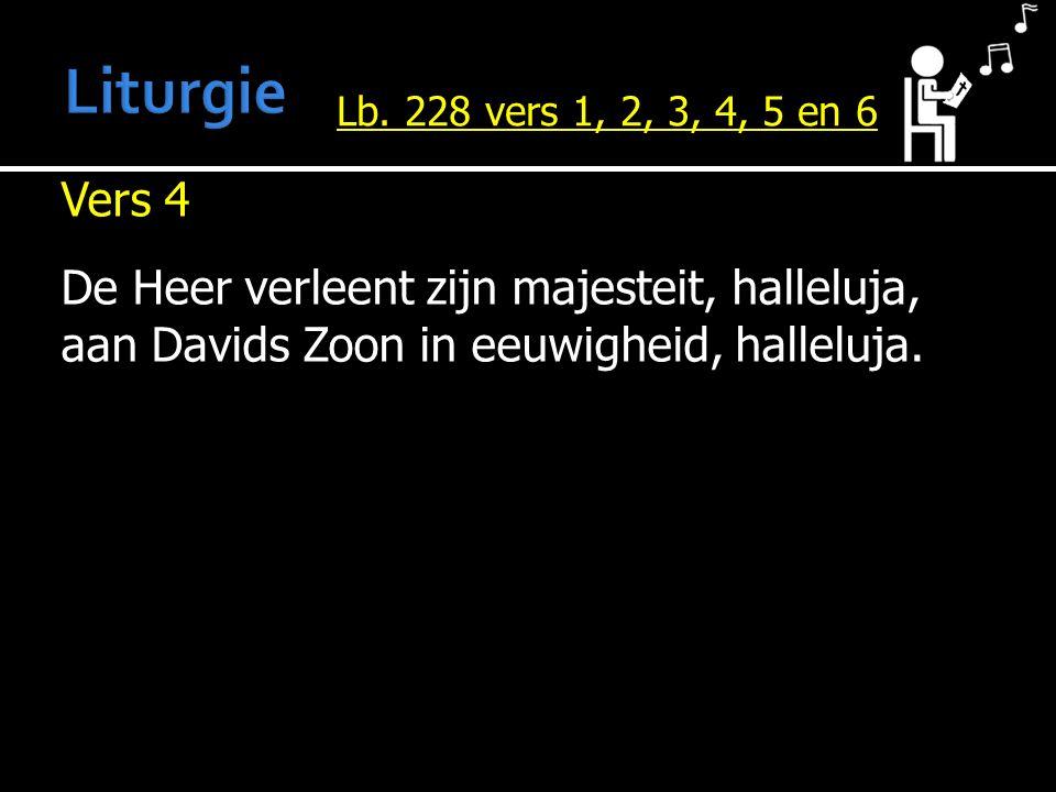 Vers 4 De Heer verleent zijn majesteit, halleluja, aan Davids Zoon in eeuwigheid, halleluja. Lb. 228 vers 1, 2, 3, 4, 5 en 6
