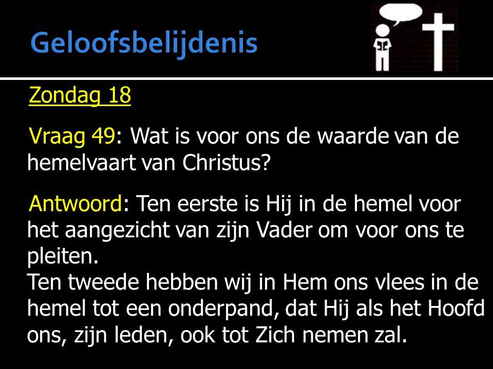 Zondag 18 Vraag 49: Wat is voor ons de waarde van de hemelvaart van Christus? Antwoord: Ten eerste is Hij in de hemel voor het aangezicht van zijn Vad