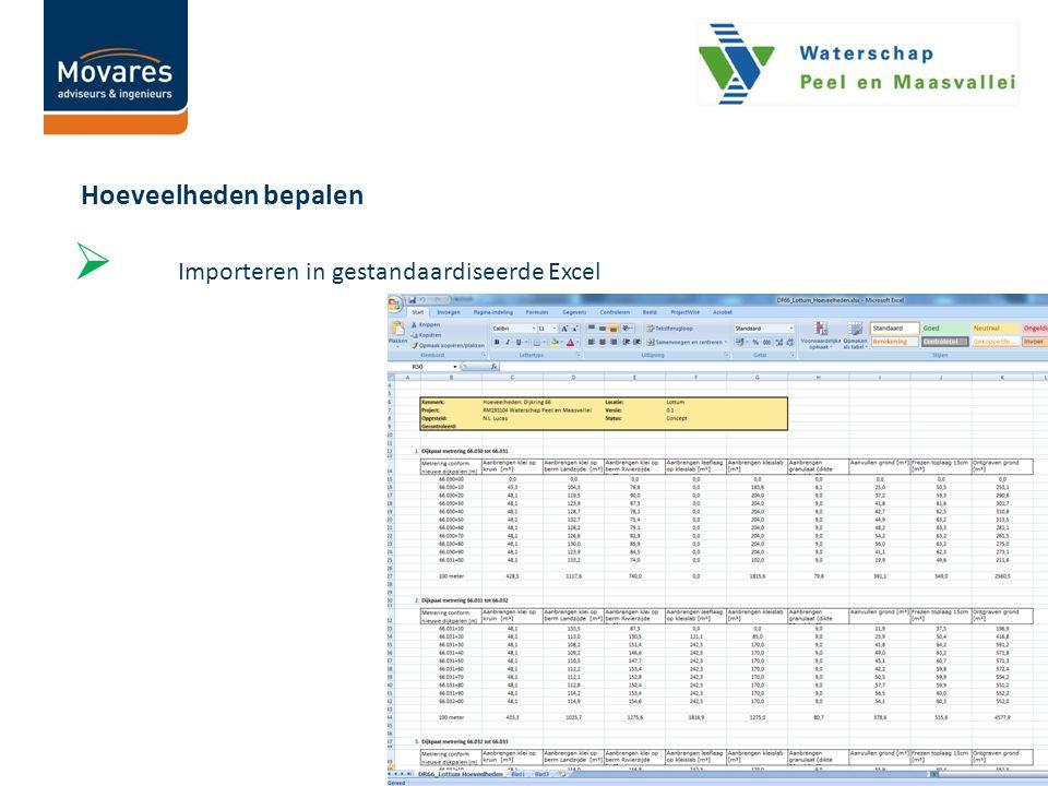  Importeren in gestandaardiseerde Excel