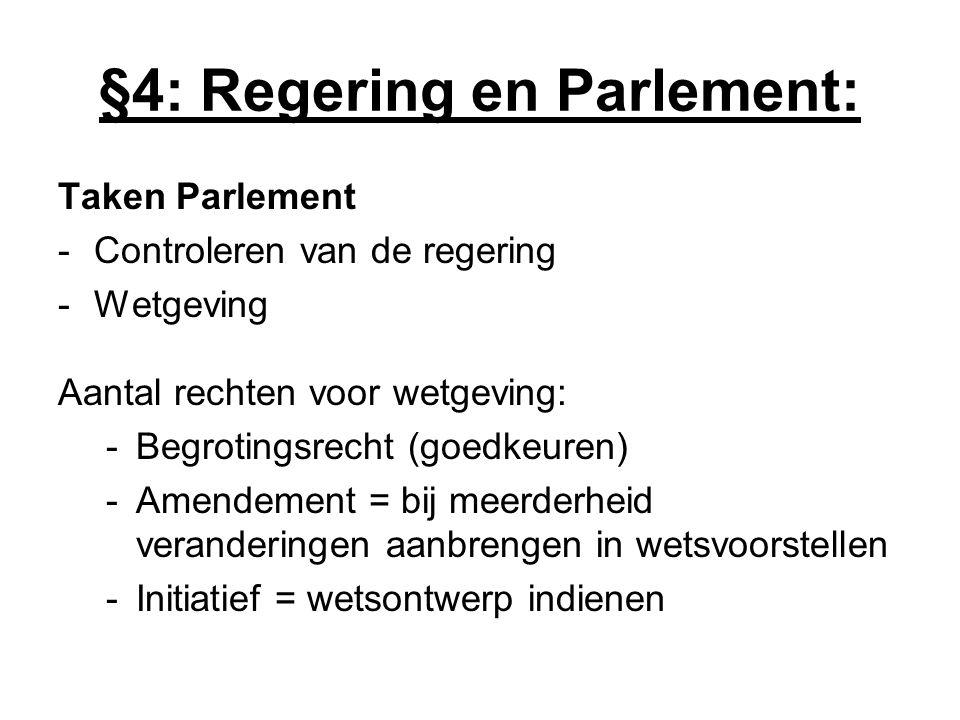 §4: Regering en Parlement: Taken Parlement -Controleren van de regering -Wetgeving Aantal rechten voor wetgeving: -Begrotingsrecht (goedkeuren) -Amend