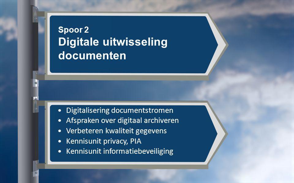 Spoor 2 Digitale uitwisseling documenten Digitalisering documentstromen Afspraken over digitaal archiveren Verbeteren kwaliteit gegevens Kennisunit privacy, PIA Kennisunit informatiebeveiliging