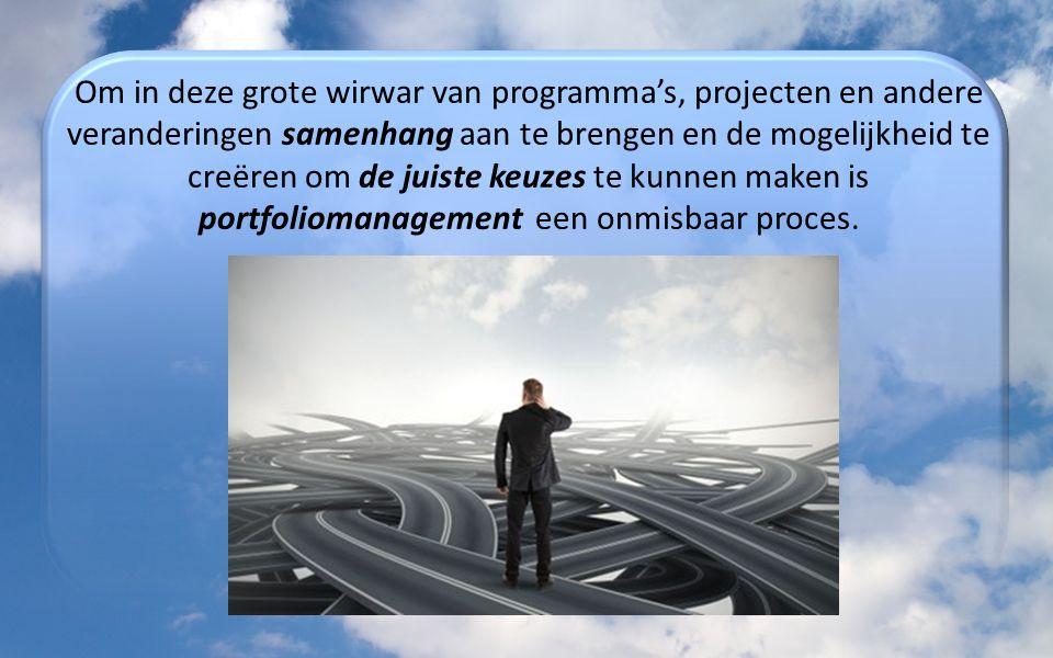 Om in deze grote wirwar van programma's, projecten en andere veranderingen samenhang aan te brengen en de mogelijkheid te creëren om de juiste keuzes