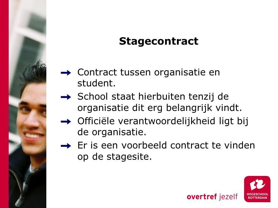 Stagecontract Contract tussen organisatie en student.