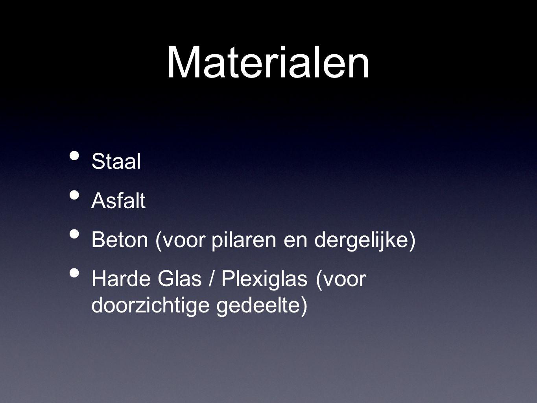 Materialen Staal Asfalt Beton (voor pilaren en dergelijke) Harde Glas / Plexiglas (voor doorzichtige gedeelte)