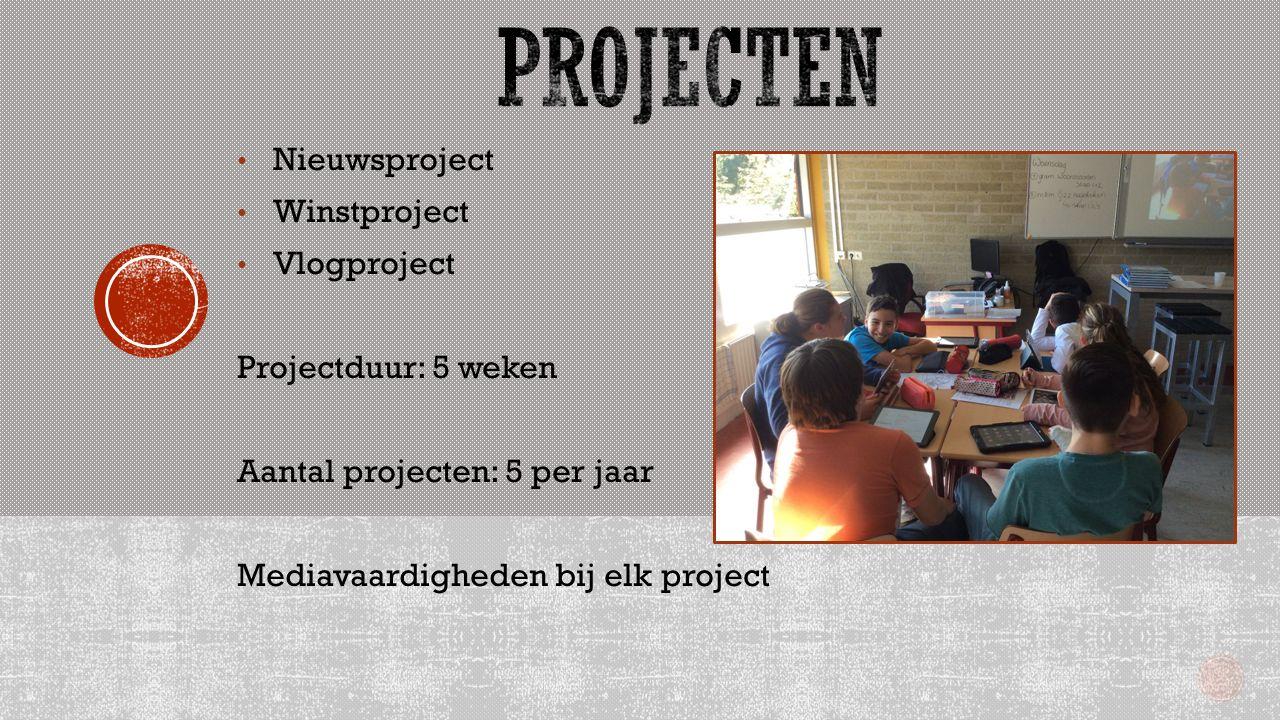 Nieuwsproject Winstproject Vlogproject Projectduur: 5 weken Aantal projecten: 5 per jaar Mediavaardigheden bij elk project