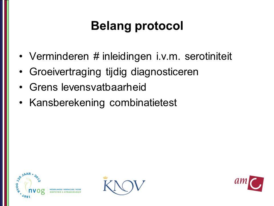 Belang protocol Verminderen # inleidingen i.v.m. serotiniteit Groeivertraging tijdig diagnosticeren Grens levensvatbaarheid Kansberekening combinatiet